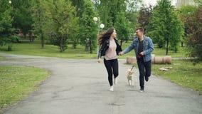 Замедленное движение счастливого молодые люди бежать в парке при радостная собака наслаждаясь природой с красивым ландшафтом горо видеоматериал