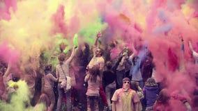 Замедленное движение фестиваля Holi видеоматериал