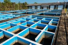 Замедляйте смешивая танк хлопьеобразования и седиментирования в обычном заводе водоочистки стоковые фотографии rf