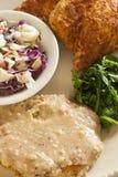 Замена жареной курицы Vegan служила с slaw, картофельными пюре стоковые изображения rf