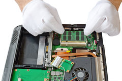 Замена компонентов на компьтер-книжке Стоковые Изображения RF