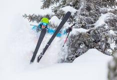Замерзните движение freerider в глубоком снеге порошка Стоковая Фотография