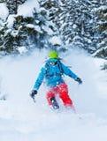 Замерзните движение freerider в глубоком снеге порошка Стоковое Изображение