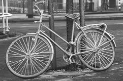 замерли велосипед, котор Стоковые Изображения