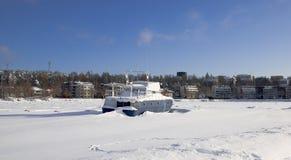 замерли Финляндией, котор saima lappeenranta озера стоковая фотография rf