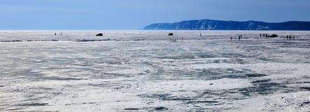 замерли baikal, котор зима озера Стоковое фото RF