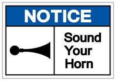 Заметьте звук ваш знак символа рожка, иллюстрация вектора, изолирован бесплатная иллюстрация
