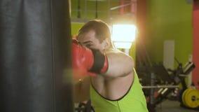 Замедленное движение молодого человека боксера практикуя на груше сток-видео