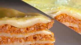 Замедленное движение ножа режа хлеб зерна хлебца сток-видео