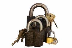 4 замка с ключами Стоковая Фотография RF