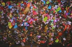 Замки влюбленности Namsan Стоковая Фотография