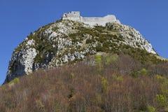 Замок Альбигойца Montsegur Стоковая Фотография RF