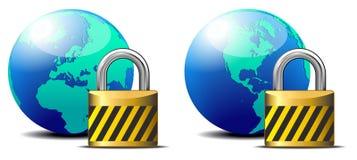 Замок безопасного интернета - предохранение от заниматься серфингом интернета Стоковое Изображение RF