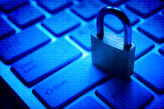 Замок безопасностью на клавиатуре компьютера Стоковое Фото