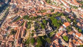Замок взгляда St. George Лиссабона сверху Стоковое Фото