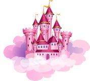 Замок волшебства принцессы вектора розовый
