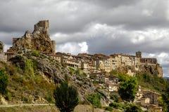 Замок города Frias Бургоса, Испании Стоковая Фотография