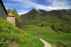 Замок грюйера, пешеходная дорожка и горы Альпов, Gruyeres, Switzerlan Стоковые Изображения