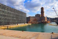 Замок Джина Святого и старый порт Стоковое Фото