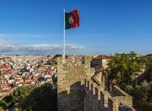 Замок Джордж Sao в Лиссабоне Стоковые Изображения RF