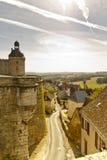 Замок Дордонь франция Hautefort и Hautefort Стоковая Фотография RF