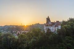 Замок Дракула в отрубях на восходе солнца Стоковые Изображения RF