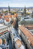 Замок Дрездена и собор Дрездена от Frauenkirche, Германии стоковые фотографии rf