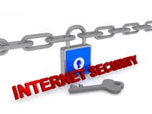 Замок и ключ безопасностью 3D интернета Стоковое Изображение RF