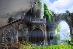 Замок, который стоит между жизнью и смертью иллюстрация штока