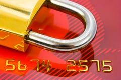замок кредита карточки Стоковое Фото
