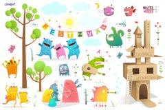 Замок лета характеров игры фестиваля детей бесплатная иллюстрация