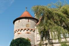 Замок Лихтенштейн - вспомогательное здание с башней Стоковое Изображение RF