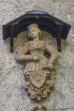 Замок Лихтенштейн - вспомогательное здание с женской статуей Стоковое Изображение