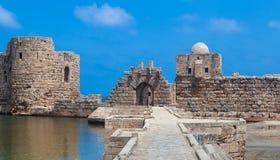 Замок моря крестоносца Sidon в Ливане Стоковое фото RF