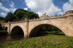 замок моста alnwick свой львев Стоковая Фотография
