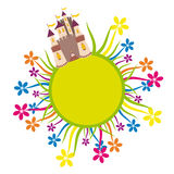 Замок на круге цветка иллюстрация штока