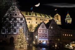 Замок Нюрнберга на ноче Стоковое Изображение