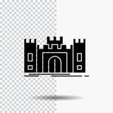 Замок, оборона, форт, крепость, значок глифа ориентира на прозрачной предпосылке r иллюстрация штока