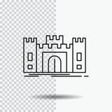 Замок, оборона, форт, крепость, линия значок ориентира на прозрачной предпосылке r иллюстрация вектора