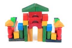 Замок от деревянных кирпичей цвета Стоковые Фотографии RF