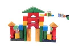 Замок от деревянных кирпичей цвета Стоковая Фотография RF
