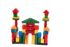 Замок от деревянных кирпичей цвета Стоковое фото RF