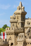 Замок песка на пляже стоковое фото rf