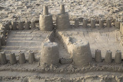Замок песка потехи на пляже в южной Калифорнии Стоковое Изображение