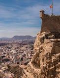 Замок Санта-Барбара в Аликанте, Испании Стоковая Фотография RF