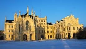 Замок сказки в зиме Стоковые Фотографии RF
