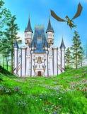 Замок сказки и дракон летания Стоковая Фотография