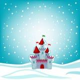 Замок сказки снега иллюстрации на предпосылке снега Стоковое Изображение