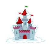 Замок сказки снега иллюстрации также вектор иллюстрации притяжки corel Стоковое фото RF