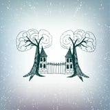 Замок с деревьями Стоковая Фотография